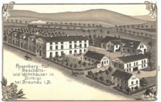 Historická pohlednice továrny na výrobu rolet v Březové