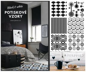 Black & White - kolekce potiskových vzorů pro rolety v čenobílém provedení