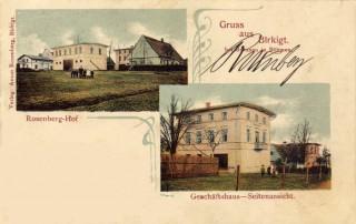 Pohlednice továrny na výrobu rolet v Březové u Broumova s rodinou Rosenbergových