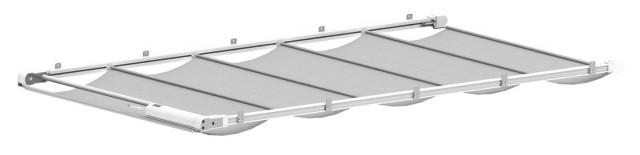 Baldachýn Reno - systém propojených kolejnic s motorem a stínicí textilií